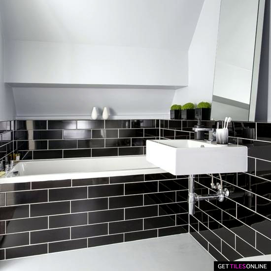 Black Gloss Kitchen Wall Tiles: Black Gloss Wall 100x300mm Ceramic Tile Bathroom Kitchen