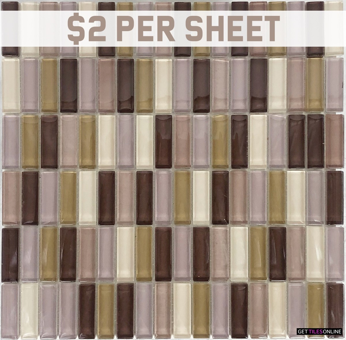 Glass Rectangular Mixed Brown Mosaic 300x300 (Code:01816)