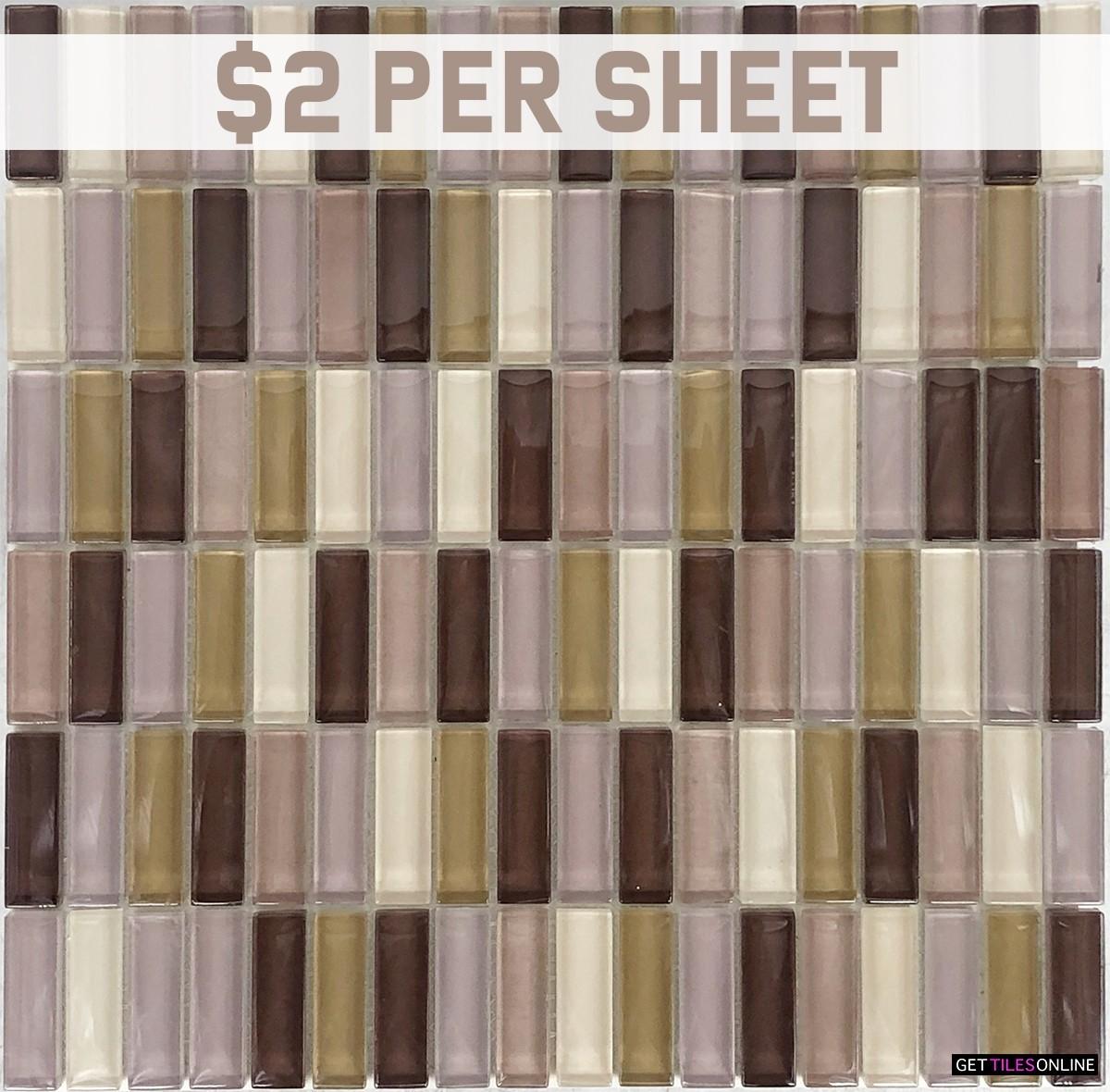 Glass Rectangular Mixed Brown Mosaic 300x300 (Code:01816)