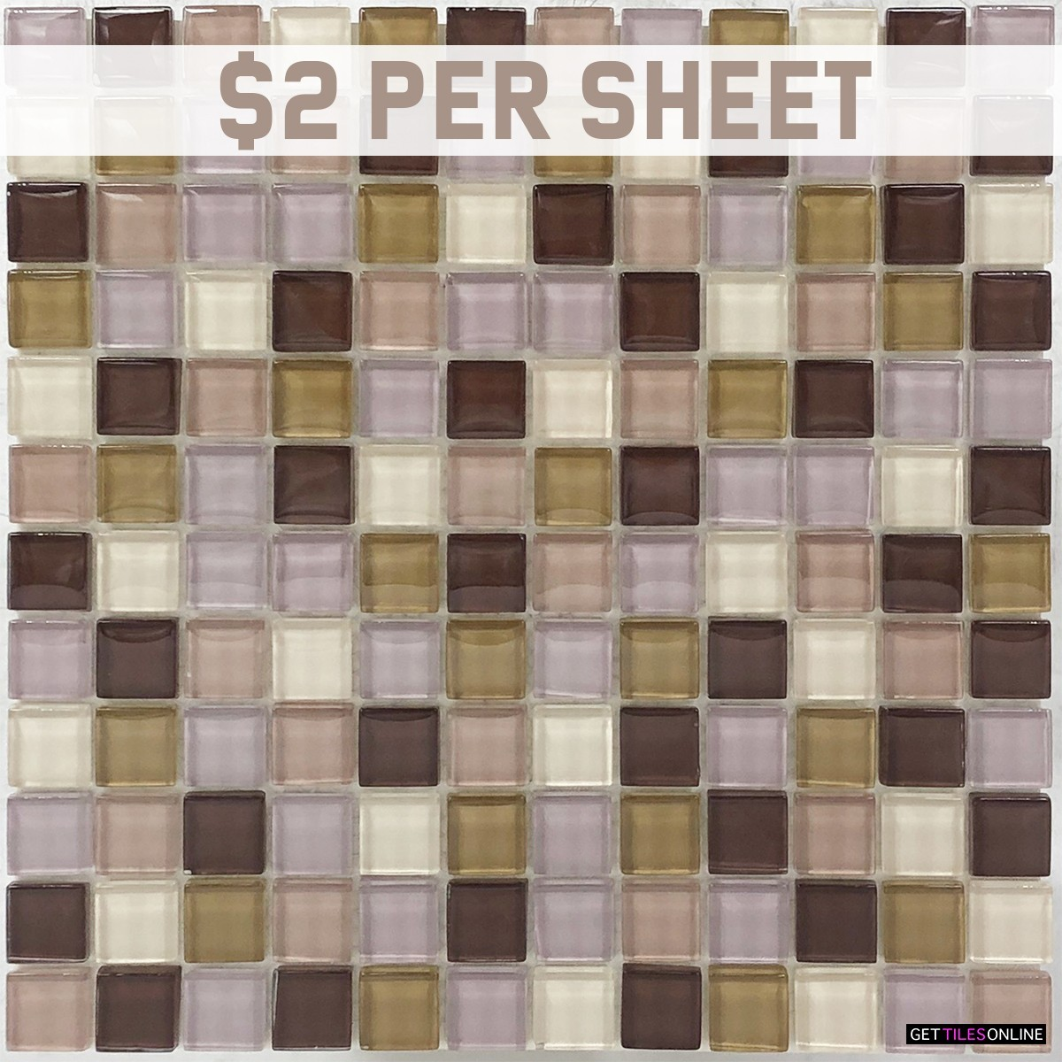 Glass Square Mixed Brown Mosaic 300x300 (Code:01815)
