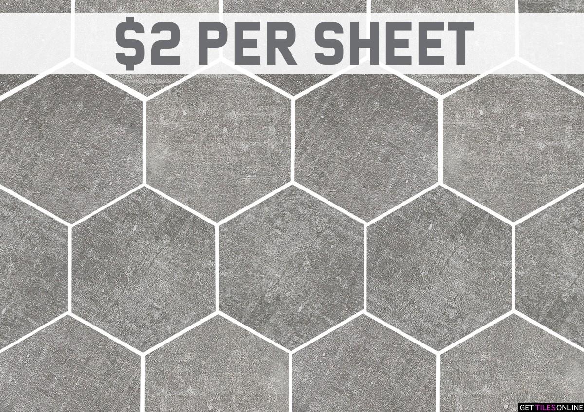 Nice Concrete Cenere Matt Hexagon (Code:01754)