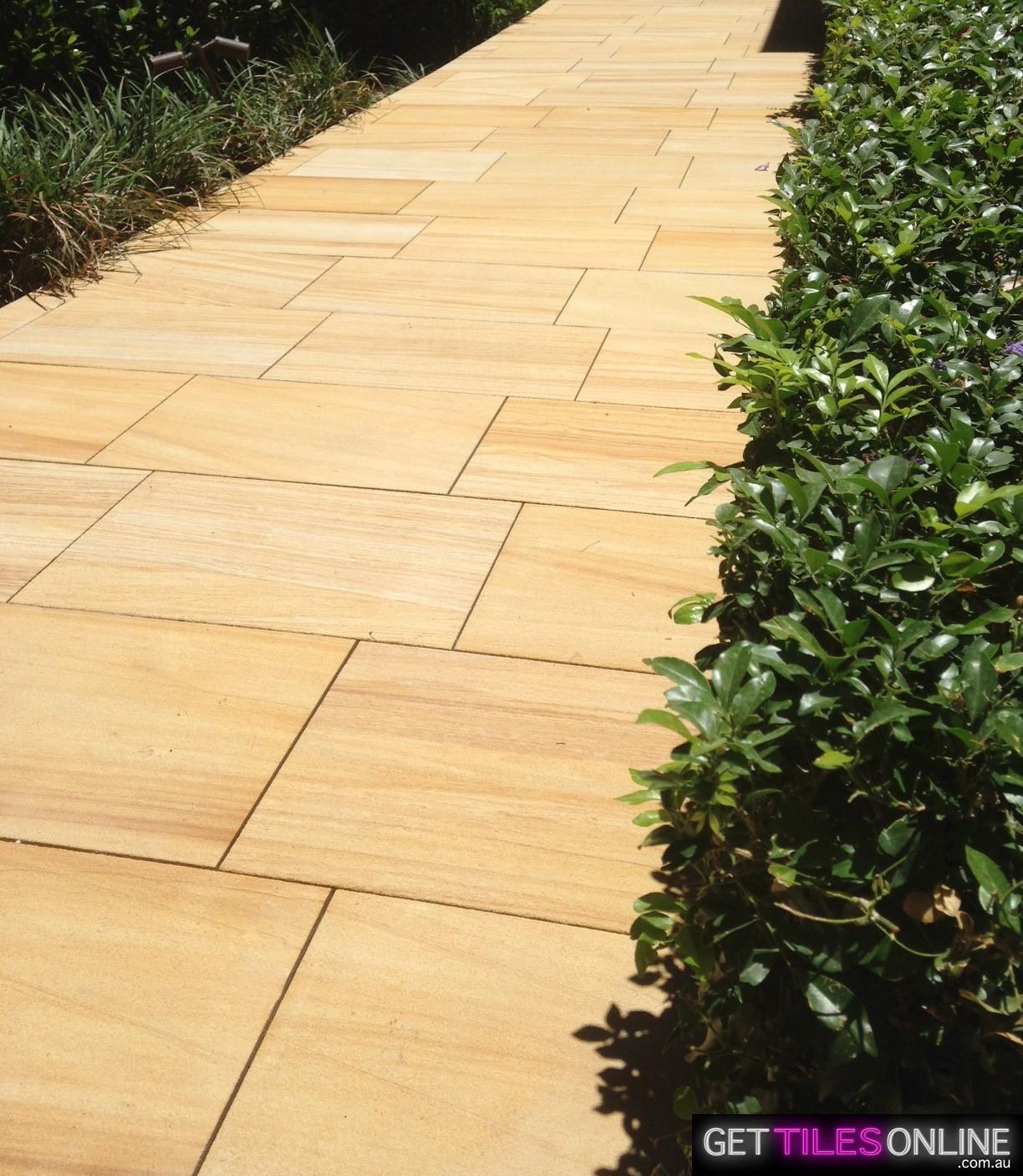 Teak Sandstone Sandblasted Paver 400x600x30 (Code : 01291)